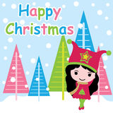 Cute girl is happy on colorful Xams tree background  cartoon, Xmas postcard, wallpaper, and greeting card Royalty Free Stock Image