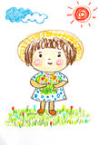 Cute girl happy in flower field , oil pastel painting illustrati Stock Photos