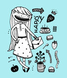 Cute girl happy tea party with design elements outline Royalty Free Stock Photos