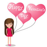 Cute girl Happy Valentine' s Day holding balloons heart. Stock Photo