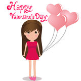 Cute girl Happy Valentine' s Day holding balloons heart. Royalty Free Stock Photo