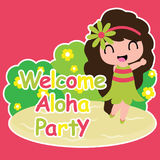 Cute girl is happy in welcome Aloha party  cartoon on red background, birthday postcard, wallpaper, and greeting card Stock Photo