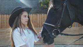 Cute girl in hat comes and caresses black mare`s head on sunny background stock footage