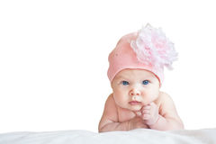 Cute girl in hat. Little cute girl in pink hat on isolated background Royalty Free Stock Photo