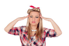 Cute girl with headache in pinup style Stock Photos