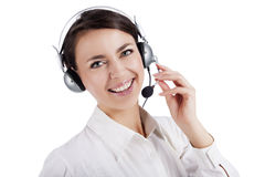 Cute girl with headphones Royalty Free Stock Photos