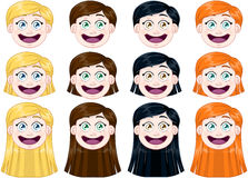 Cute Girl Heads Set Royalty Free Stock Images