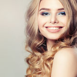 Cute Girl. Healthy Skin and Hair. Beautiful Face on Background Stock Photography