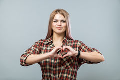 Cute girl with heart Royalty Free Stock Image