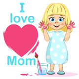 Cute girl with heart poster I Love Mom, painted hands and brush. Mother`s day. Little painter Vector illustration. For your design Stock Photo