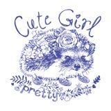 Cute girl hedgehog single color print for kids. Hedgehog girl with flowers a single color print for kids Royalty Free Stock Image