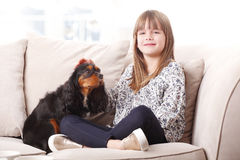 Cute girl and her best friend Royalty Free Stock Photo