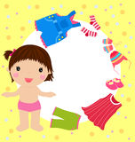 Cute girl and her clothes Royalty Free Stock Image