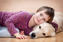 Cute girl and her dog Royalty Free Stock Photo