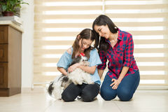 Cute girl with her mom and dog Stock Photo