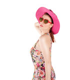 Cute girl and her sunglasses Royalty Free Stock Photos
