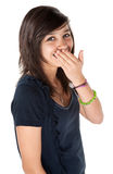 Cute girl hiding her braces Royalty Free Stock Photo