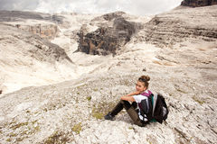 Cute girl hiking in the mountains Royalty Free Stock Image