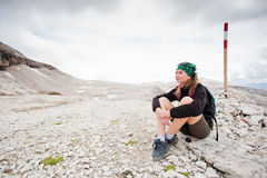 Cute girl hiking in the mountains Royalty Free Stock Photography