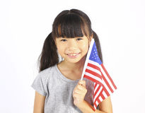 Cute girl holding an American Flag Stock Photography