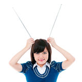 Cute Girl Holding Antennas On Head Royalty Free Stock Photography