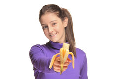 Cute girl holding a banana Stock Photography