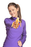 Cute girl holding a banana Royalty Free Stock Photography