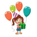 Cute girl holding birthday gift. Happy birthday girl holding gift box with balloons Royalty Free Stock Photography
