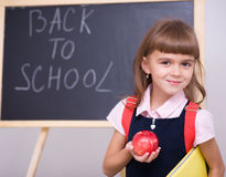 Cute girl is holding book. School concept Royalty Free Stock Photo