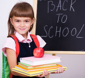 Cute girl is holding book royalty free stock photography