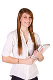 Cute Girl Holding Books and Magazine Royalty Free Stock Image