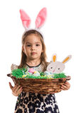 Cute girl holding Easter basket Stock Image