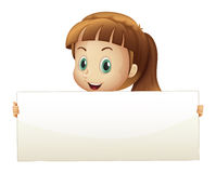 A cute girl holding an empty banner Stock Images