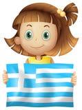 Cute girl holding flag of Greece. Illustration Stock Illustration