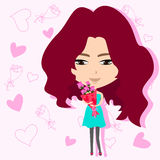 Cute girl holding flower bouquet in romance backgr. Ound, create by vector Stock Photo