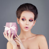 Cute Girl Holding Gift Box Royalty Free Stock Image