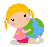Cute girl holding the globe Royalty Free Stock Photo