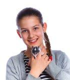Cute girl holding a hamster Stock Photos