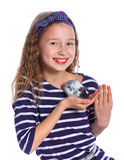 Cute girl holding a hamster Royalty Free Stock Photos