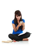 Cute Girl Holding handphone Royalty Free Stock Photography