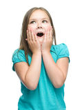 Cute girl is holding her face in astonishment Stock Images
