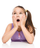 Cute girl is holding her face in astonishment Stock Photography