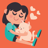 Cute Girl Holding her Pet Cat Royalty Free Stock Photography