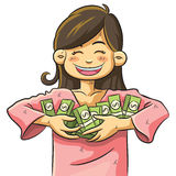 Cute Girl Holding Money royalty free illustration