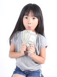 Cute girl holding money Royalty Free Stock Photo