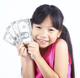 Cute girl holding money Stock Photography