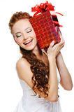 Cute girl holding present Stock Photo