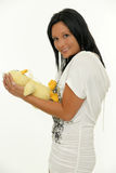 Cute girl holding soft toy Royalty Free Stock Images