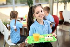 Cute girl holding tray with healthy food royalty free stock images