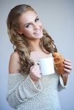 Cute girl holding white cup Stock Photography
